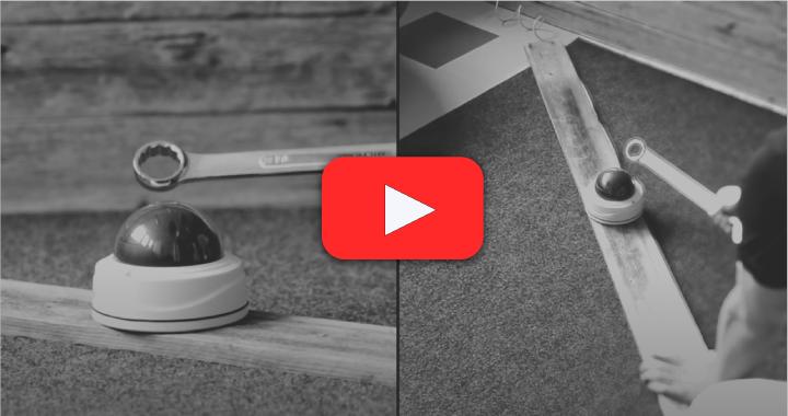 crash test milesight rozbíjení kamery maticovým klíčem