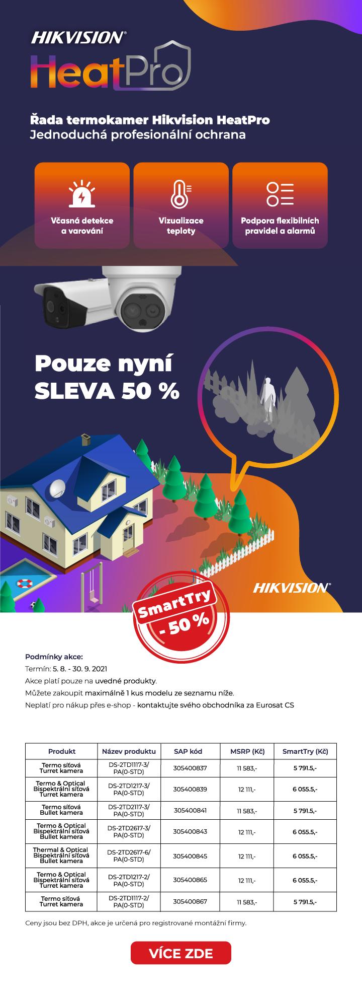 HIKVISION Eurosat CS zabezpečovací technologie Brno Praha Ostrava kamery Zlín Plzeň Hradec Králové termokamery HeatPro SmartTry akce slevy