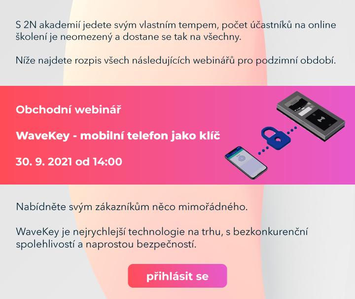obchodní webinář 2N WaveKey přístup pomocí mobilního telefonu